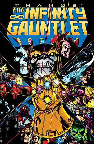 Infinity Gauntlet conte le combat titanesque de Thanos contre les Avengers, Spider-Man, les X-Men et des héros mystiques et cosmiques dont Drax et Dr Strange.