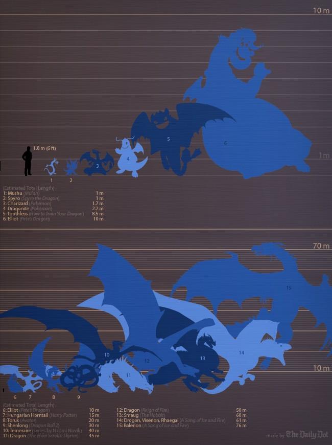 Taille des dragons célébres